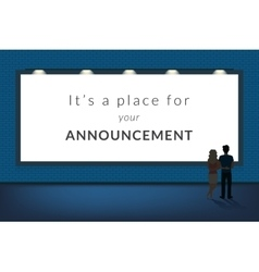 Big announcement banner blank with a couple vector
