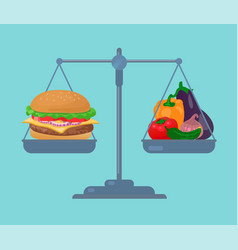 Burger and vegetables balance on the scale vector