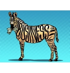 Business zebra eats money vector