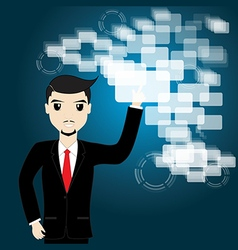 Businessman touching screen vector image vector image