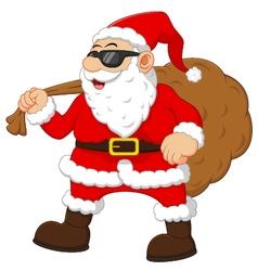 Cartoon santa holding sack vector