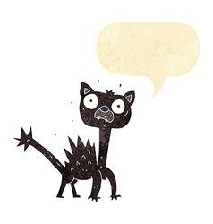 Cartoon scared cat with speech bubble vector