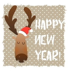 Christmas deer happy face cartoon funny character vector