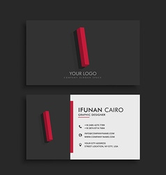 clean dark business card with letter I vector image