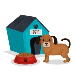 Cute dog with house mascot icon vector