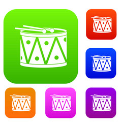 Drum and drumsticks set color collection vector