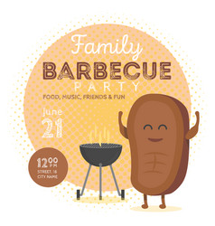 Family bbq party invitation template cute steak vector