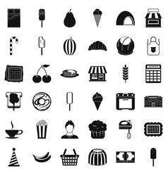 Good dessert icons set simple style vector