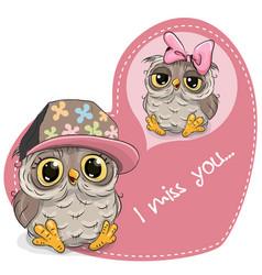 Greeting card cute dreaming owl vector