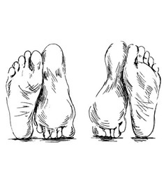 Hand sketch couple of feet having sex vector image