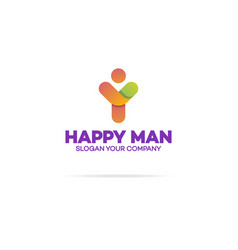 happy human logo with silhouette man vector image vector image