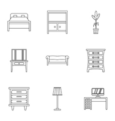Home furniture icons set outline style vector