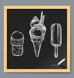 Ice cream drawing on a blackboard vector image vector image