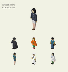 Isometric people set of officer policewoman vector