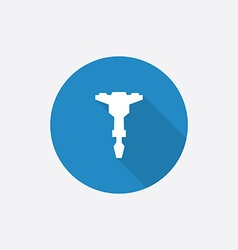 Jackhammer flat blue simple icon with long shadow vector