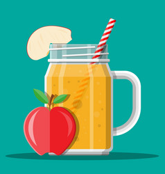Jar with apple smoothie with striped straw vector