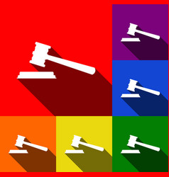 justice hammer sign set of icons with vector image vector image
