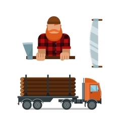 Lumberjack and truck icons vector