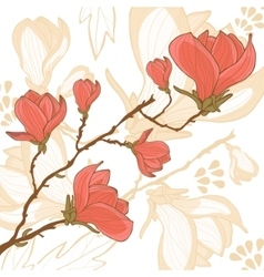 Magnolia flower card vector