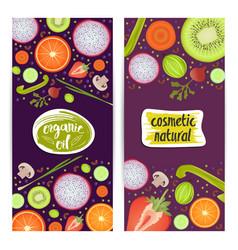 Natural cosmetics vertical flyers set vector