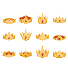 polygonal royal crown head power 3d cartoon icons vector image