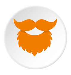Red beard and mustache icon circle vector