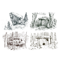 Set ancient cave prehistoric house of wood or vector