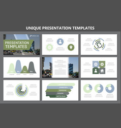 Set of green and blue elements for multipurpose vector