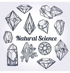 Set of hand drawn crystal gems -natural science vector
