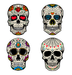 set of the sugar skulls isolated on white vector image