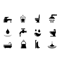 set of water and bathroom object vector image vector image