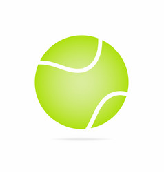 tennis ball icon with shadow isolated on white vector image vector image
