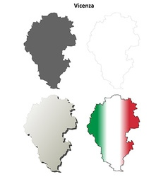 Vicenza blank detailed outline map set vector image vector image