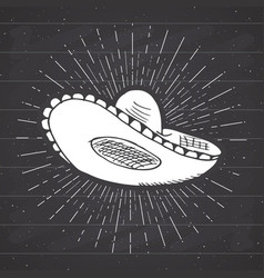 Vintage label hand drawn sombrero mexican vector