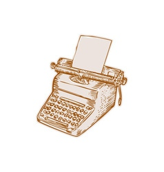 Vintage old style typewriter etching vector