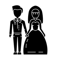 wedding couple - bride and groom icon vector image vector image