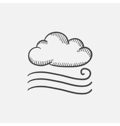 Windy cloud sketch icon vector image vector image