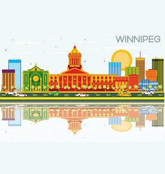 winnipeg skyline with color buildings blue sky vector image vector image