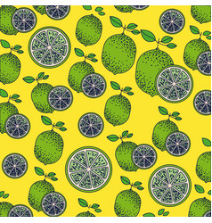 Yellow background with pattern of lemon fruits and vector