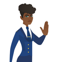 Young african stewardess showing stop hand gesture vector