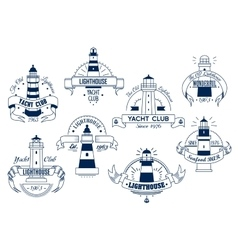 Lighthouse yacht club emblem nautical badge vector