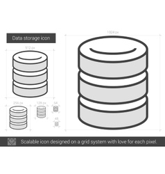Data storage line icon vector