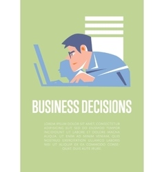 Business decisions banner with businesspeople vector