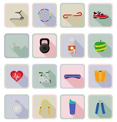 fitness flat icons 20 vector image