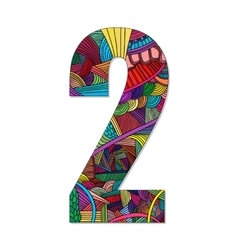 Number 2 with hand drawn abstract doodle pattern vector image