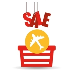 Basket shopping sale ticket airplane graphic vector