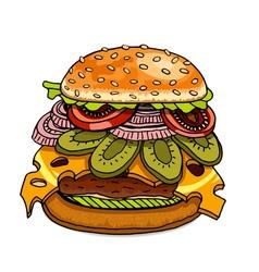 Hamburger isolated on white vector image