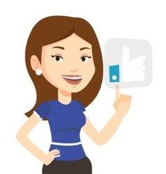 Woman pressing like button vector