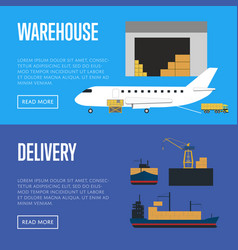 Delivery and warehouse banner set vector