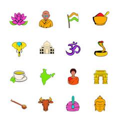 india icons set cartoon vector image